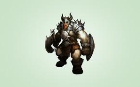 vichingo, armatura, corno, barba, scudo, guerriero