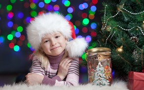 Tree, Christmas decorations, bank, box, child, girl, smile, hood, New Year