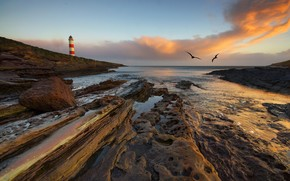 sea, lighthouse, landscape