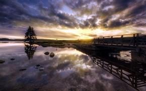 закат, река, мост