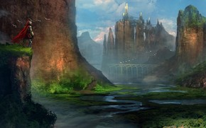 Arte, guerriero, paesaggio, Rocks, fiume, valle, citt, castello, ponte, mantello