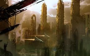 арт, город, мегаполис, корабли, человек, разруха, руины