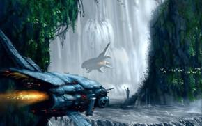 Art, Ships, waterfalls, water, rocks, flight