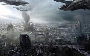 арт, город, корабли, нападение, руины, дым