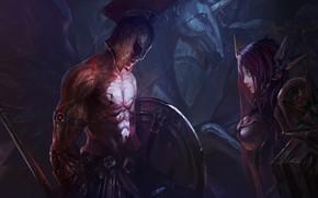 Arte, ragazza, uomo, guerriero, casco, lancia, scudo, ali, statua, cavallo, armatura