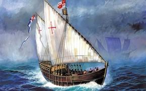 Schiff, Christopher Columbus, Nia, Spitzname, Baby, Heute, seine, Name, Santa Clara, erbaut, in, Spanien, inbegriffen, Zusammensetzung, erste, und, Zweite, Expeditions, war, Flaggschiff, Schiff, nach, Tod, Santa Maria, Crew, vier, Lunge, Schiff