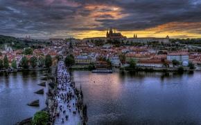 prague, praha, Prague, czech, Czech Republic, Charles Bridge, city, evening, people, river, vltava, Vltava
