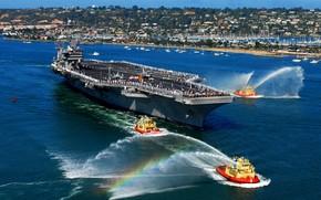 вода, порт, авианосец, приветствие, малых, кораблей, радуга,