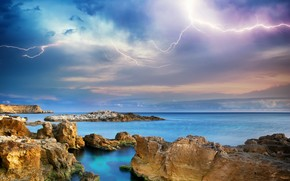 sea, stones, islets, lightning