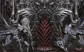 Art, guy, throne, metal, statue