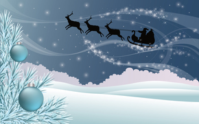 deer, sledge, Star, snow, drifts, Christmas decorations, Tree, branch, New Year