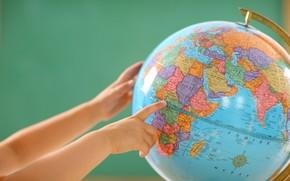 globo, mappa, braccia, mondo