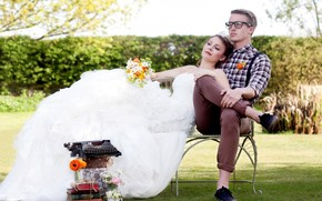 bride, bouquet, dress, shirt, man, guy, glasses, bench, grass, Books