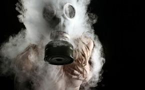ragazza, maschera, fumare, situazione