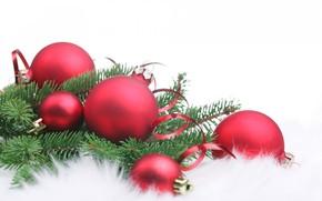 New Year, Christmas, Toys, Balls, needles, fur, white background, Serpentine
