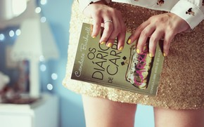 Humor, nia, libro, las uas, barniz, falda, fondo, Papel pintado