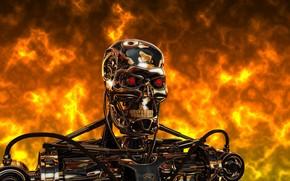 terminador, robot, cyborg, acero, metal, fuego