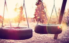 настроения, качели, колесо, цепочка, природа, фон, обои