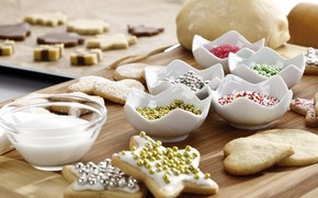 cookies, Powder, molds, Star, New Year, dough, baking