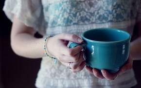 Mood, girl, mug, cup, blue, Blue, hand, decoration, Bracelets, background, wallpaper