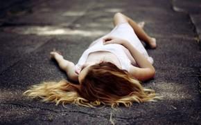 Mood, girl, hair, is, asphalt, background, wallpaper