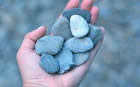 Mood, girl, hand, Kami, stones, blue, background, wallpaper, nature