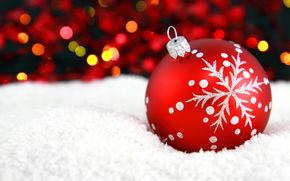 toy, Christmas tree, Christmas, ball, red, pattern, snowflake, snow, bokeh, New Year, Christmas, New Year