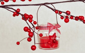 candle, bow, branch, Berries, red, holly, holly