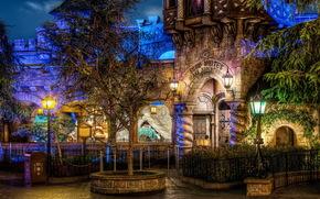Stati Uniti d'America, Disneyland, California, semaforo, notte, hdr, urbano