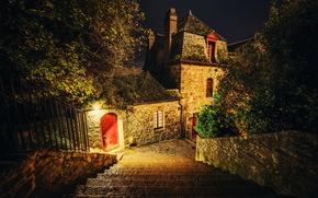 Francia, Mont Saint Michel, notte, scala