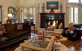 interno, camino, divano, sedia, salone, camera, design