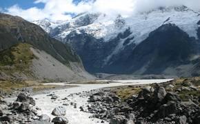 речка, горы, снег