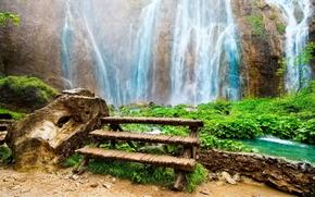 nature, waterfalls, Amazing waterfall, bench-table