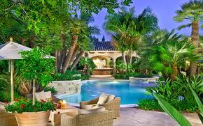 Jardines, jardines rancho, santa fe, California, Piscinas, Naturaleza