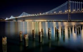 san francisco, california, financial district, USA, san francisco, California, USA, bridge, night, city, lights, wharf