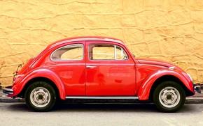 macchina, rosso, muro, giallo, sfondo, Volkswagen