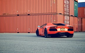 Lamborghini, aventador, orange, back of, Containers, asphalt, Lamborghini