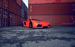Lamborghini, aventador, orange, side view, lights, Containers, wet asphalt, Lamborghini