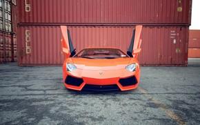 Lamborghini, aventador, orange, reflection, asphalt, band, Lamborghini