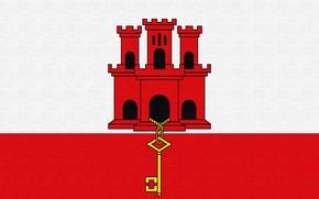 flag, Gibraltar, castle, key