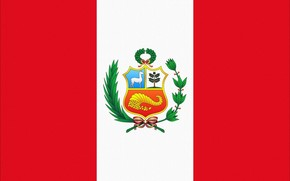 flag, Peru, red, white, coat of arms