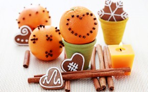 oranges, carnation, cinnamon, cookies, New Year, Candles, Holidays, New Year, Christmas