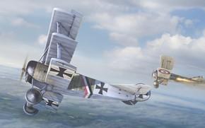 Первая мировая война, воздушный бой, самолёты, немцы, британцы, авиация, небо, арт
