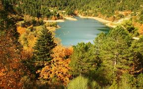 lago, Grecia, tsivlos, alberi, natura