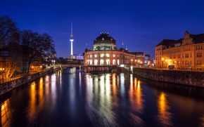 Berliner Dom, Cattedrale di Berlino, Isola dei Musei, ponte, Torre, casa, fiume, Baldoria, riflessione, semaforo, luce, citt, Berlino, Berlino, deutschland, Germania, Germania, notte