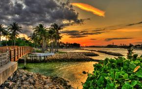 Dubois Park, Giove, Florida, Florida, tramonto, ponte, palma