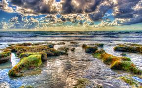 mare, onde, pietre, nuvole