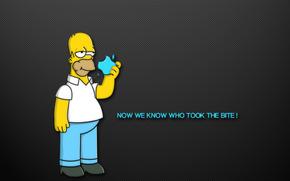 Homer, apple, Apple, Simpsons, bite, inscription, background