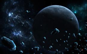 Arte, spazio, pianeta, Meteoriti, ghiaccio, Asteroids, Stella, nebulosa
