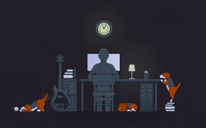 Guy, guitar, dogs, desk, computer, black, illustration, solitude, lamp, guy, guitar, Dogs, desk, computer, black, illustration, loneliness, lamp, watch
